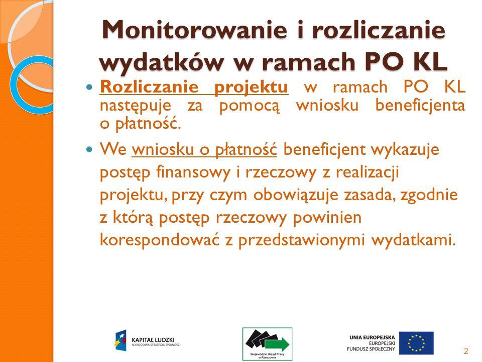 Monitorowanie i rozliczanie wydatków w ramach PO KL Rozliczanie projektu w ramach PO KL następuje za pomocą wniosku beneficjenta o płatność. We wniosk