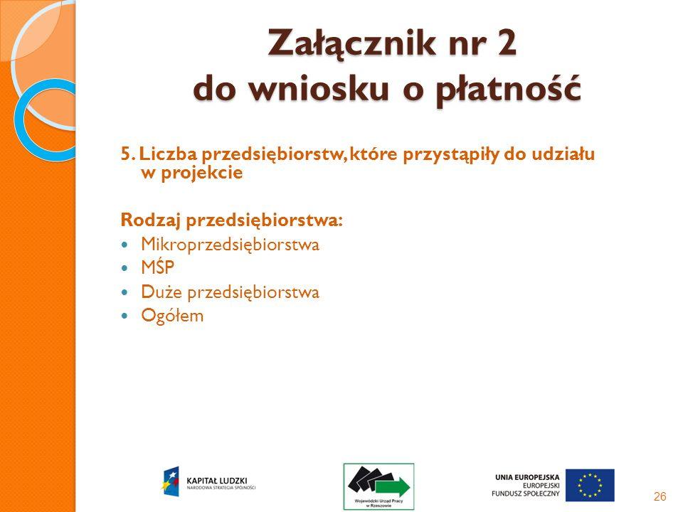 Załącznik nr 2 do wniosku o płatność Załącznik nr 2 do wniosku o płatność 5. Liczba przedsiębiorstw, które przystąpiły do udziału w projekcie Rodzaj p