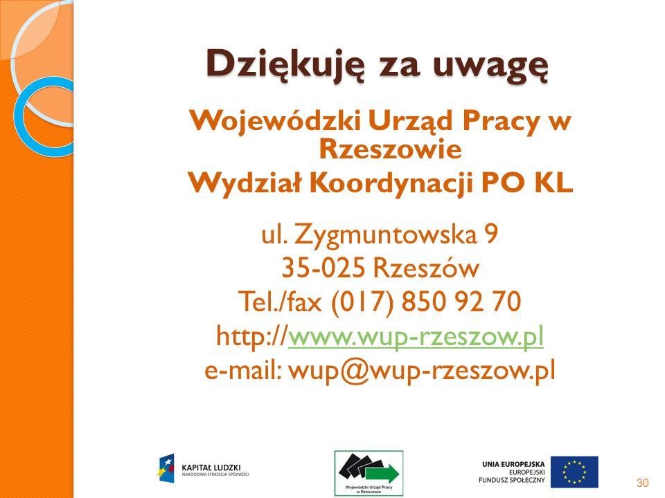 Dziękuję za uwagę Wojewódzki Urząd Pracy w Rzeszowie Wydział Koordynacji PO KL ul. Zygmuntowska 9 35-025 Rzeszów Tel./fax (017) 850 92 70 http://www.w