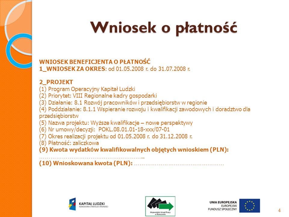 Wniosek o płatność 4 WNIOSEK BENEFICJENTA O PŁATNOŚĆ 1_WNIOSEK ZA OKRES: od 01.05.2008 r. do 31.07.2008 r. 2_PROJEKT (1) Program Operacyjny Kapitał Lu