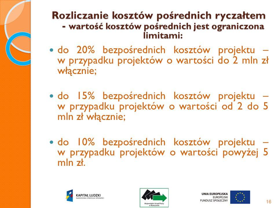 Rozliczanie kosztów pośrednich ryczałtem - wartość kosztów pośrednich jest ograniczona limitami: do 20% bezpośrednich kosztów projektu – w przypadku p