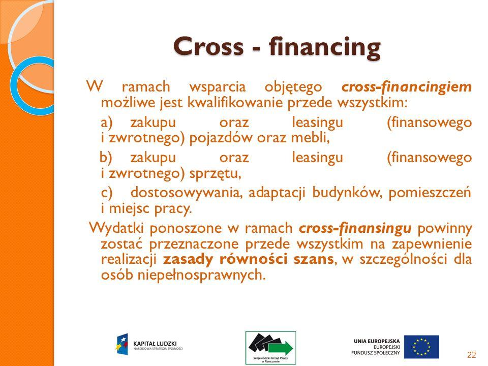 Cross - financing W ramach wsparcia objętego cross-financingiem możliwe jest kwalifikowanie przede wszystkim: a)zakupu oraz leasingu (finansowego i zw