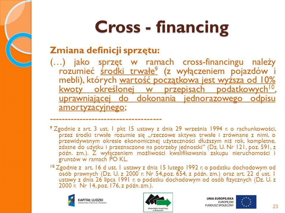 Cross - financing Zmiana definicji sprzętu: (…) jako sprzęt w ramach cross-financingu należy rozumieć środki trwałe 9 (z wyłączeniem pojazdów i mebli)