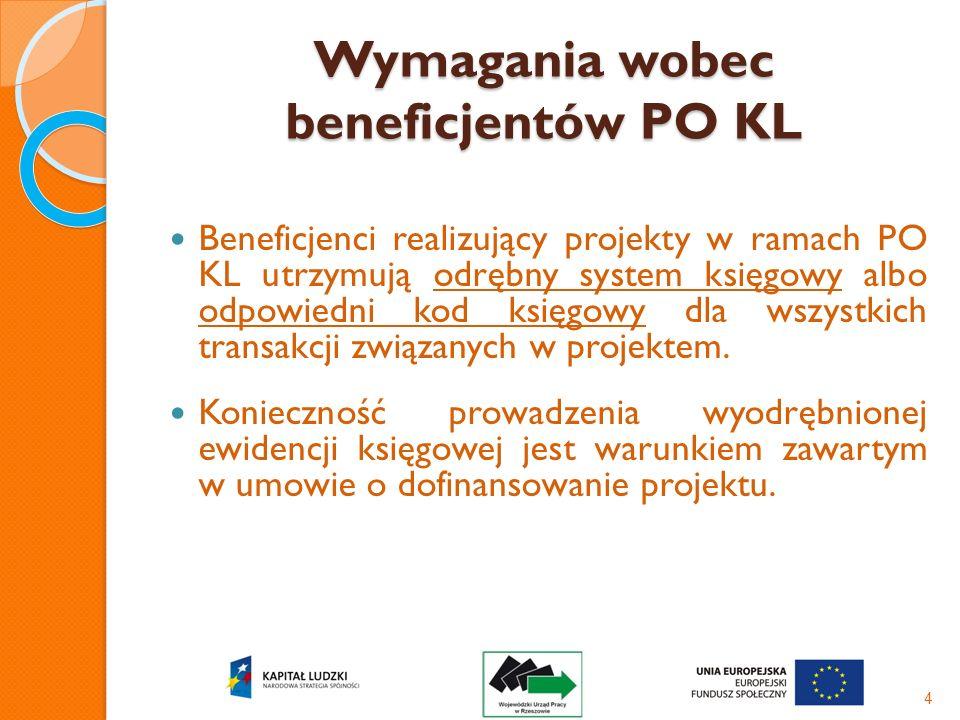 Wymagania wobec beneficjentów PO KL Beneficjenci realizujący projekty w ramach PO KL utrzymują odrębny system księgowy albo odpowiedni kod księgowy dl