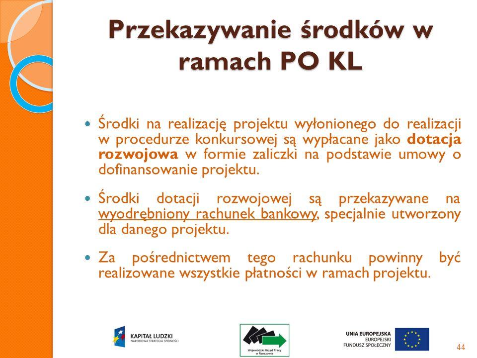 Przekazywanie środków w ramach PO KL Środki na realizację projektu wyłonionego do realizacji w procedurze konkursowej są wypłacane jako dotacja rozwoj