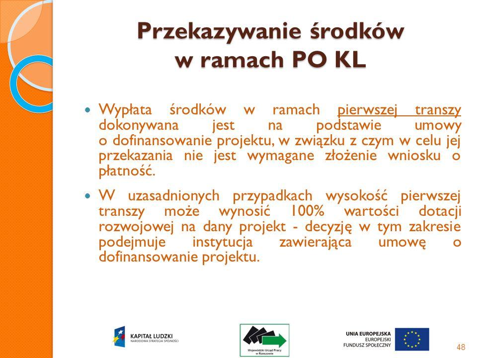 Przekazywanie środków w ramach PO KL Wypłata środków w ramach pierwszej transzy dokonywana jest na podstawie umowy o dofinansowanie projektu, w związk