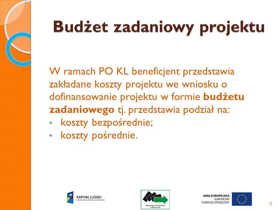 Budżet zadaniowy projektu W ramach PO KL beneficjent przedstawia zakładane koszty projektu we wniosku o dofinansowanie projektu w formie budżetu zadan