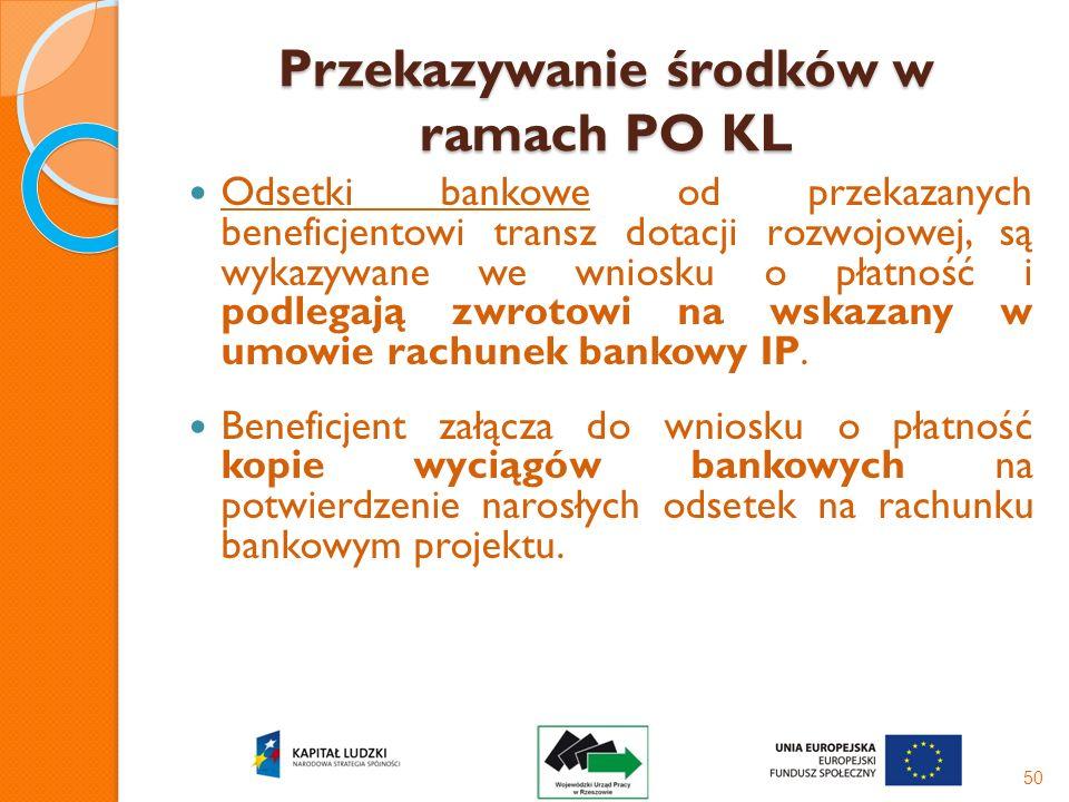 Przekazywanie środków w ramach PO KL Odsetki bankowe od przekazanych beneficjentowi transz dotacji rozwojowej, są wykazywane we wniosku o płatność i p