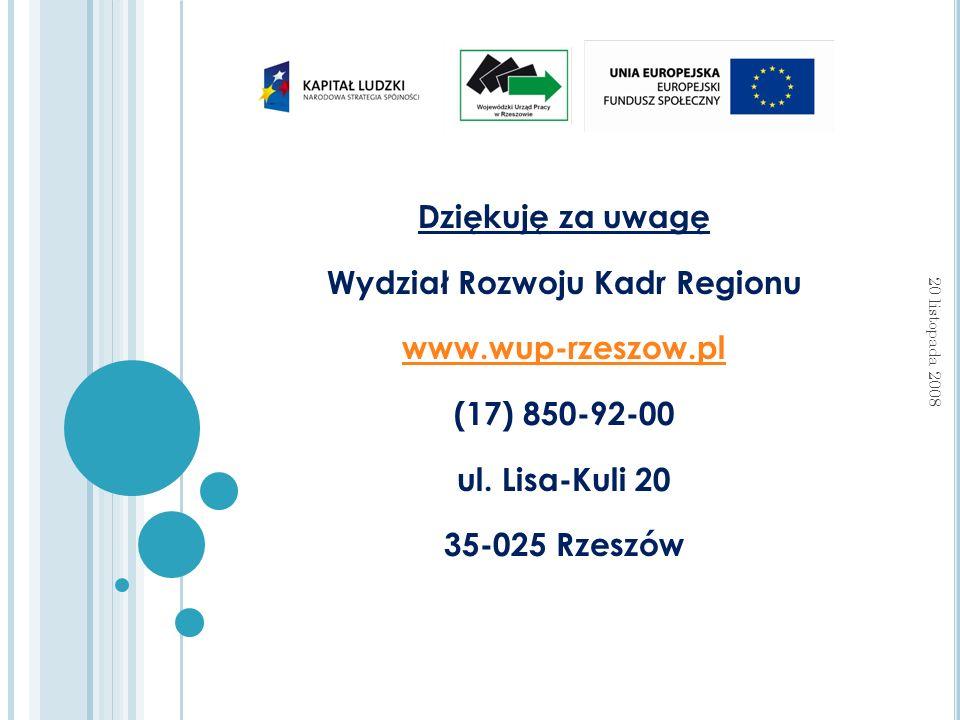 Dziękuję za uwagę Wydział Rozwoju Kadr Regionu www.wup-rzeszow.pl (17) 850-92-00 ul.