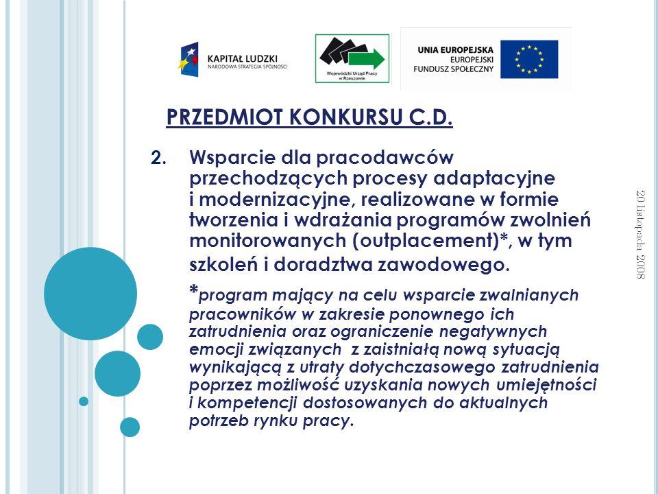 PRZEDMIOT KONKURSU C.D.