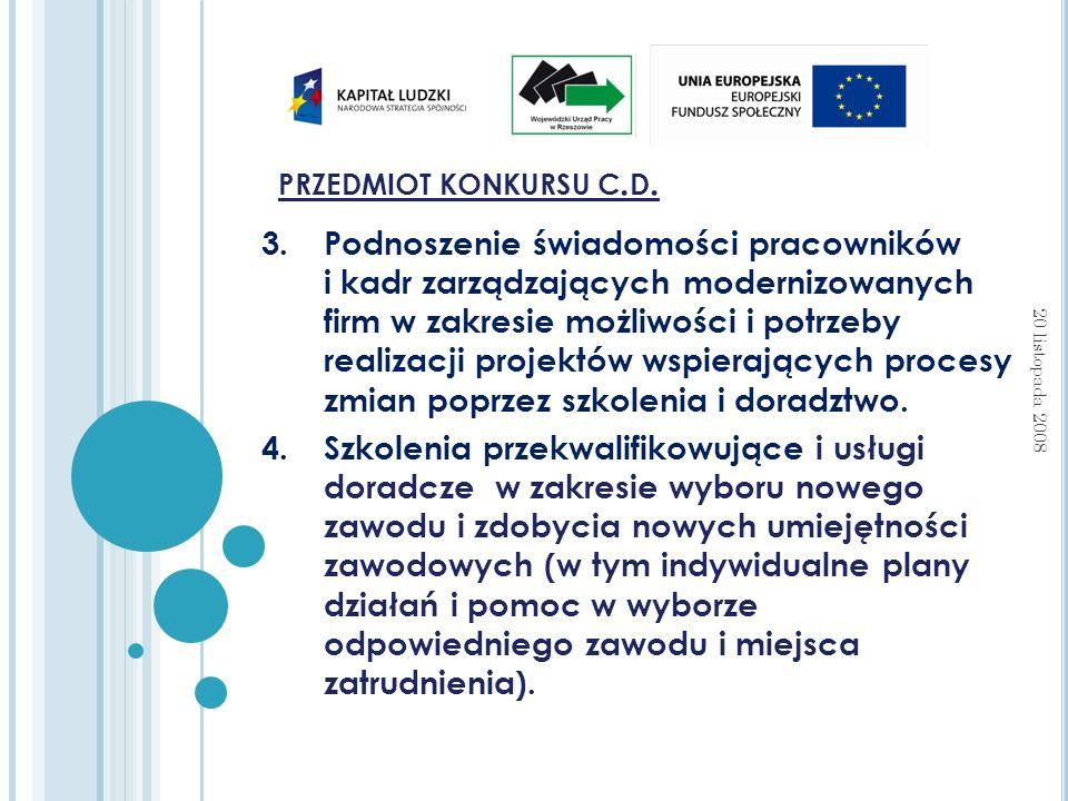 PRZEDMIOT KONKURSU C. D.