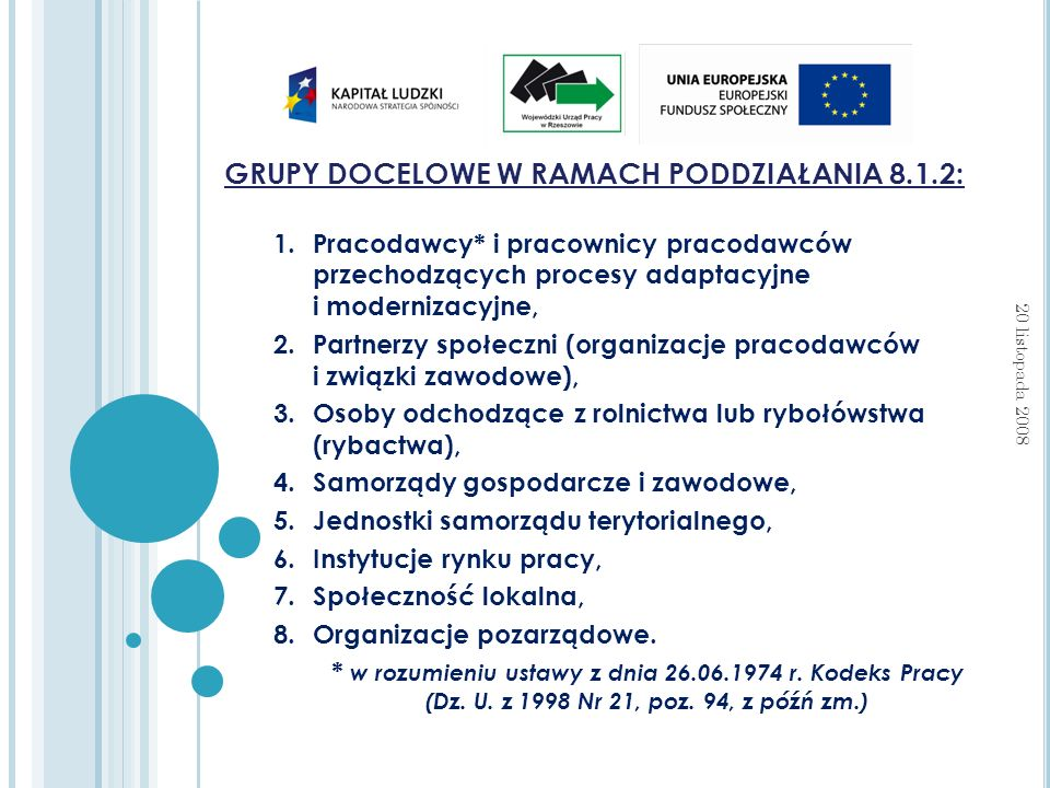 GRUPY DOCELOWE W RAMACH PODDZIAŁANIA 8.1.2: 1.Pracodawcy* i pracownicy pracodawców przechodzących procesy adaptacyjne i modernizacyjne, 2.Partnerzy społeczni (organizacje pracodawców i związki zawodowe), 3.Osoby odchodzące z rolnictwa lub rybołówstwa (rybactwa), 4.Samorządy gospodarcze i zawodowe, 5.Jednostki samorządu terytorialnego, 6.Instytucje rynku pracy, 7.Społeczność lokalna, 8.Organizacje pozarządowe.