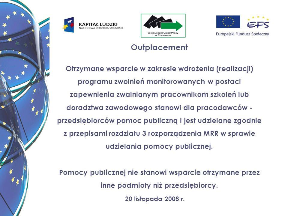 20 listopada 2008 r. Outplacement Otrzymane wsparcie w zakresie wdrożenia (realizacji) programu zwolnień monitorowanych w postaci zapewnienia zwalnian