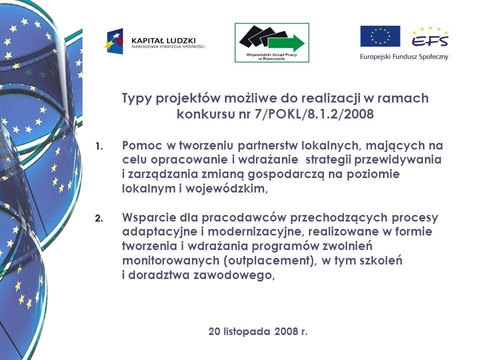20 listopada 2008 r. Typy projektów możliwe do realizacji w ramach konkursu nr 7/POKL/8.1.2/2008 1. Pomoc w tworzeniu partnerstw lokalnych, mających n