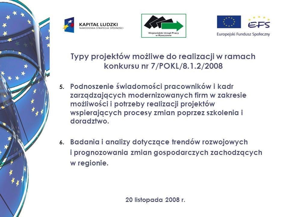 20 listopada 2008 r. Typy projektów możliwe do realizacji w ramach konkursu nr 7/POKL/8.1.2/2008 5. Podnoszenie świadomości pracowników i kadr zarządz