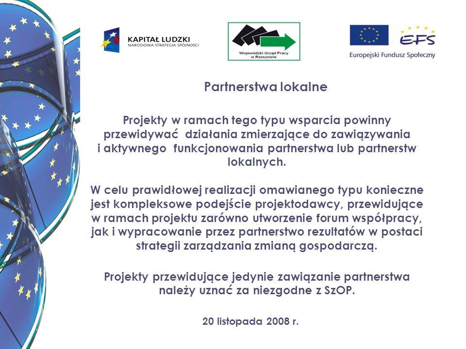 20 listopada 2008 r. Partnerstwa lokalne Projekty w ramach tego typu wsparcia powinny przewidywać działania zmierzające do zawiązywania i aktywnego fu
