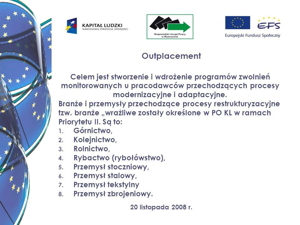 20 listopada 2008 r. Outplacement Celem jest stworzenie i wdrożenie programów zwolnień monitorowanych u pracodawców przechodzących procesy modernizacy