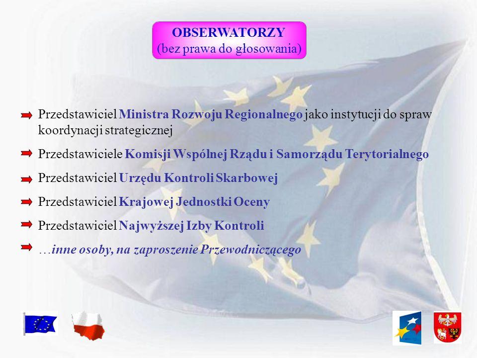 OBSERWATORZY (bez prawa do głosowania) Przedstawiciel Ministra Rozwoju Regionalnego jako instytucji do spraw koordynacji strategicznej Przedstawiciele