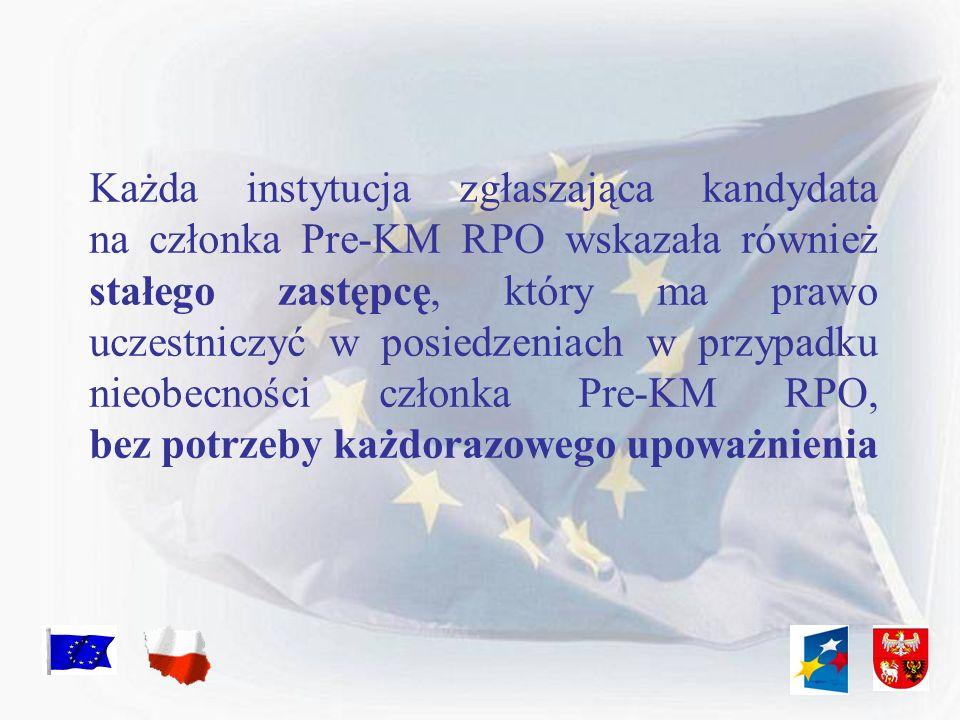 Każda instytucja zgłaszająca kandydata na członka Pre-KM RPO wskazała również stałego zastępcę, który ma prawo uczestniczyć w posiedzeniach w przypadk