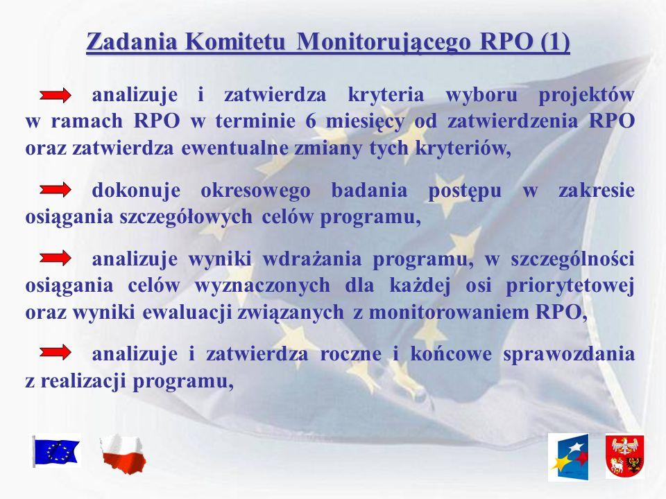 Zadania Komitetu Monitorującego RPO (1) analizuje i zatwierdza kryteria wyboru projektów w ramach RPO w terminie 6 miesięcy od zatwierdzenia RPO oraz