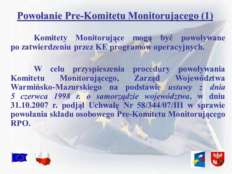 Powołanie Pre-Komitetu Monitorującego (2) PRZY POWOŁYWANIU PRE-KOMITETU INSTYTUCJA ZARZĄDZAJĄCA DĄŻYŁA DO ZACHOWANIA ZASADY PARTNERSTWA PODMIOTÓW I RÓWNEGO UDZIAŁU KOBIET I MĘŻCZYZN