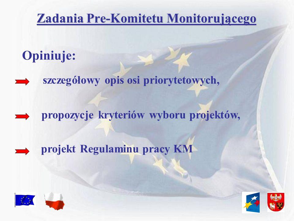 Skład Pre-Komitetu Monitorującego PRZEWODNICZĄCY OBSERWATORZY (bez prawa do głosowania) CZŁONKOWIE (z prawem do głosowania) ZASTĘPCA PRZEWODNICZĄCEGO PRZEDSTAWICIELE STRONY SAMORZĄDOWEJ PRZEDSTAWICIELE STRONY RZĄDOWEJ PARTNERZY SPOŁECZNI i GOSPODARCZY DORADCY (bez prawa do głosowania) PRZEDSTAWICIEL INSTYTUCJI ZARZĄDZAJĄCEJ Marszałek Województwa Warmińsko-Mazurskiego
