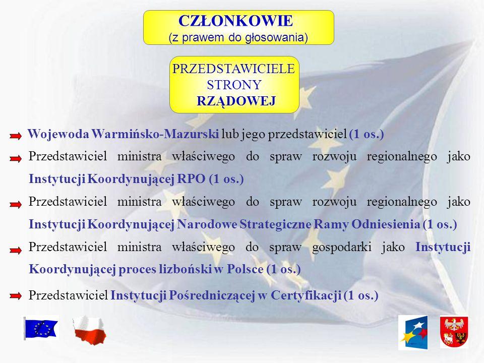 CZŁONKOWIE (z prawem do głosowania) Wojewoda Warmińsko-Mazurski lub jego przedstawiciel (1 os.) Przedstawiciel ministra właściwego do spraw rozwoju re