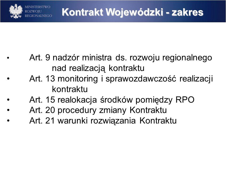 Kontrakt Wojewódzki - zakres Art. 9 nadzór ministra ds.