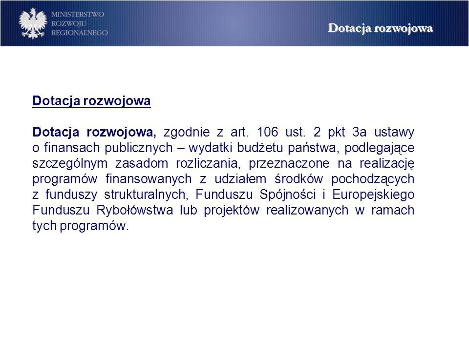 Dotacja rozwojowa Dotacja rozwojowa, zgodnie z art.