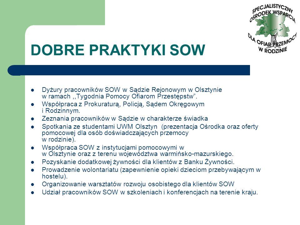 DOBRE PRAKTYKI SOW Dyżury pracowników SOW w Sądzie Rejonowym w Olsztynie w ramach,,Tygodnia Pomocy Ofiarom Przestępstw. Współpraca z Prokuraturą, Poli