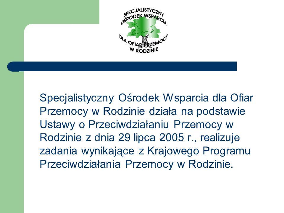 Specjalistyczny Ośrodek Wsparcia dla Ofiar Przemocy w Rodzinie działa na podstawie Ustawy o Przeciwdziałaniu Przemocy w Rodzinie z dnia 29 lipca 2005
