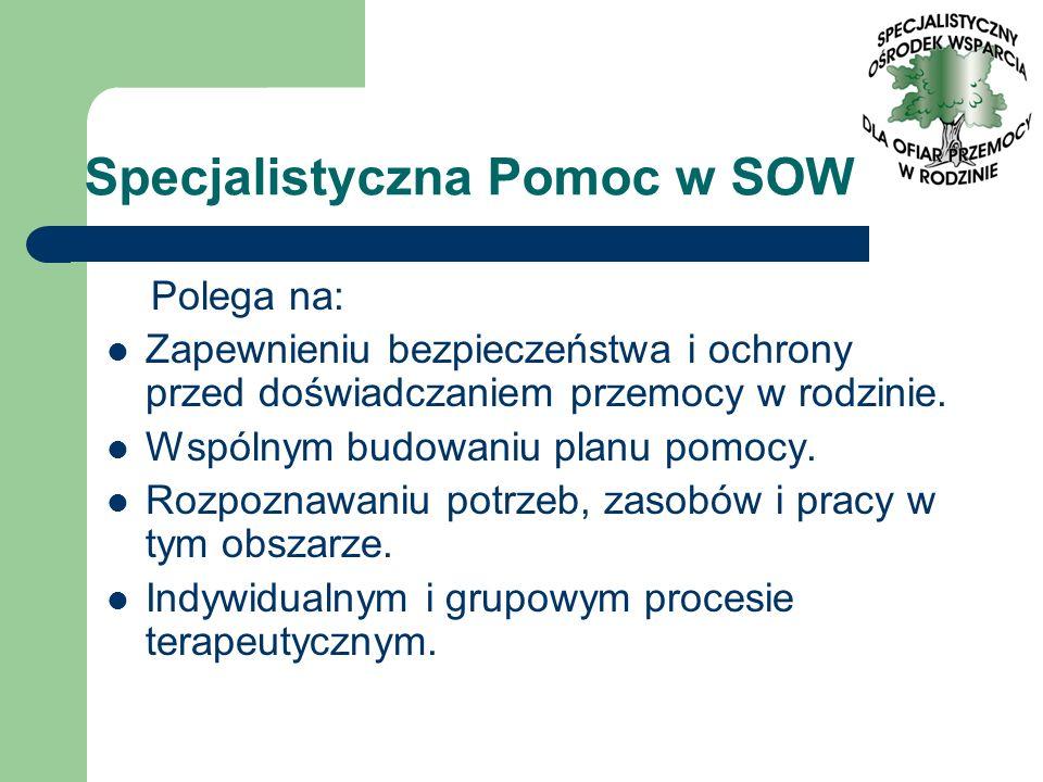 Specjalistyczna Pomoc w SOW Polega na: Zapewnieniu bezpieczeństwa i ochrony przed doświadczaniem przemocy w rodzinie. Wspólnym budowaniu planu pomocy.
