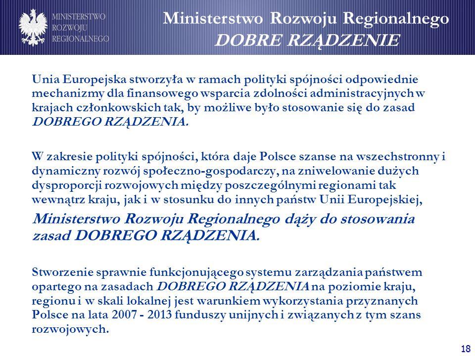 18 Unia Europejska stworzyła w ramach polityki spójności odpowiednie mechanizmy dla finansowego wsparcia zdolności administracyjnych w krajach członko