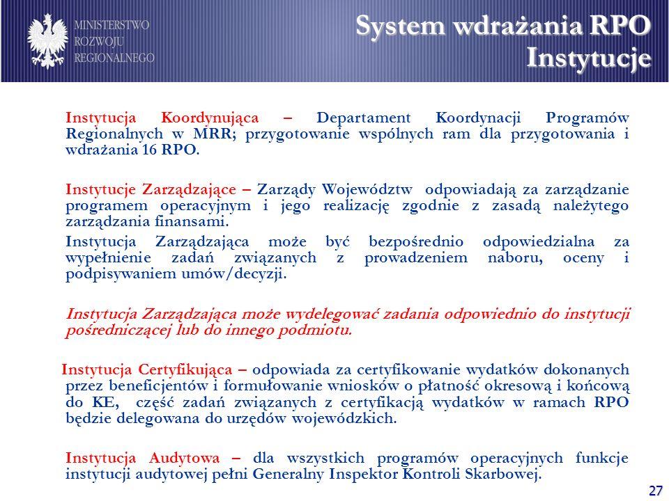 27 Instytucja Koordynująca – Departament Koordynacji Programów Regionalnych w MRR; przygotowanie wspólnych ram dla przygotowania i wdrażania 16 RPO. I