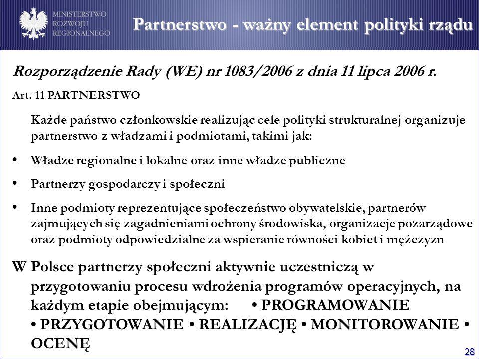 28 Rozporządzenie Rady (WE) nr 1083/2006 z dnia 11 lipca 2006 r. Art. 11 PARTNERSTWO Każde państwo członkowskie realizując cele polityki strukturalnej