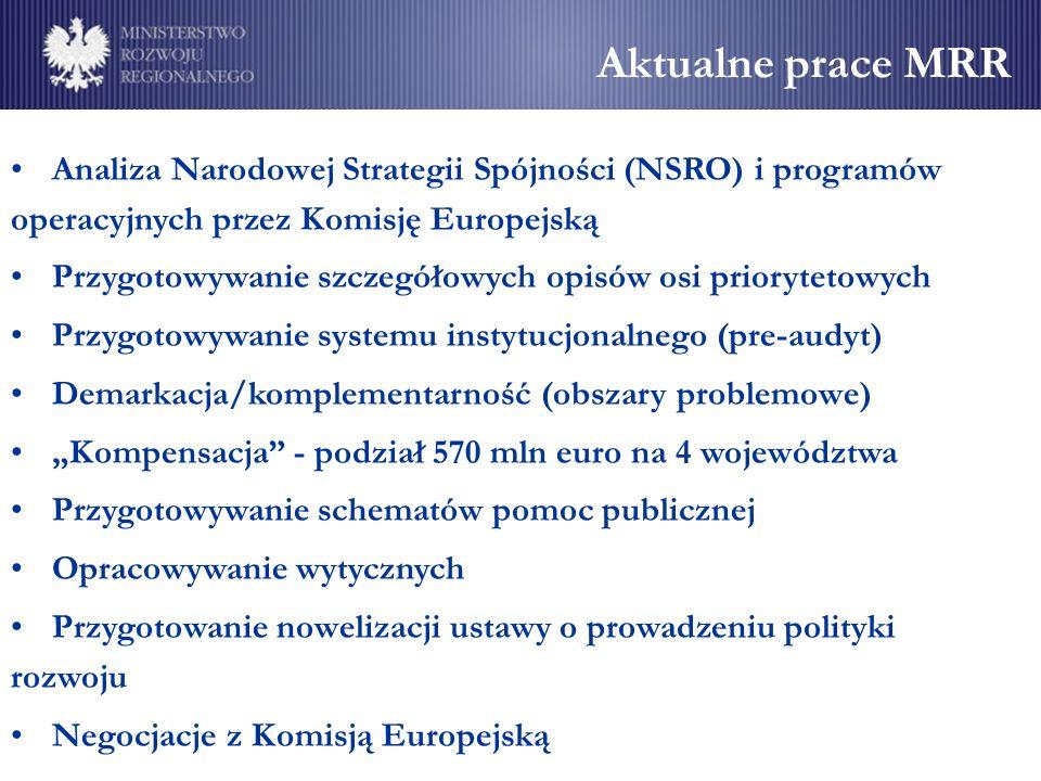 Aktualne prace MRR Analiza Narodowej Strategii Spójności (NSRO) i programów operacyjnych przez Komisję Europejską Przygotowywanie szczegółowych opisów