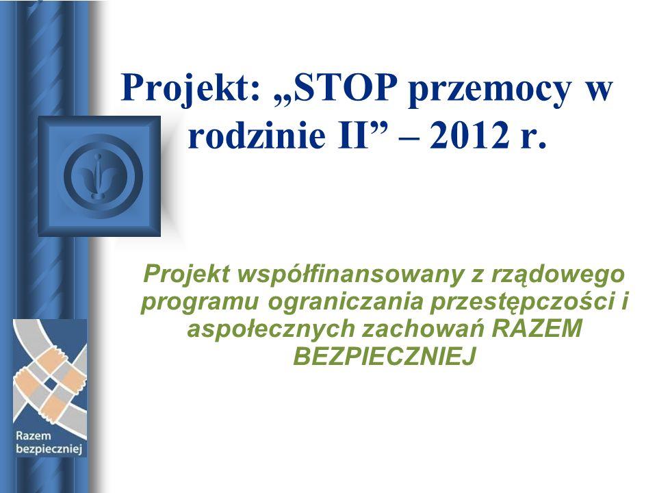 Projekt: STOP przemocy w rodzinie II – 2012 r. Projekt współfinansowany z rządowego programu ograniczania przestępczości i aspołecznych zachowań RAZEM