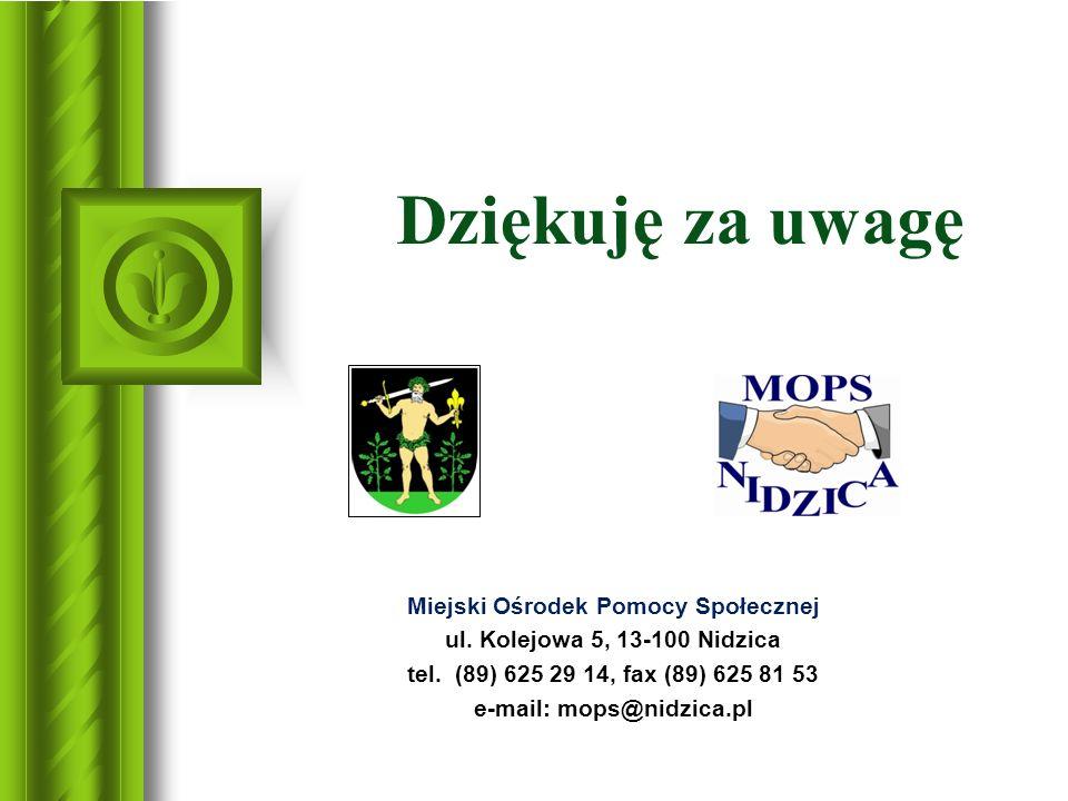 Dziękuję za uwagę Miejski Ośrodek Pomocy Społecznej ul. Kolejowa 5, 13-100 Nidzica tel. (89) 625 29 14, fax (89) 625 81 53 e-mail: mops@nidzica.pl