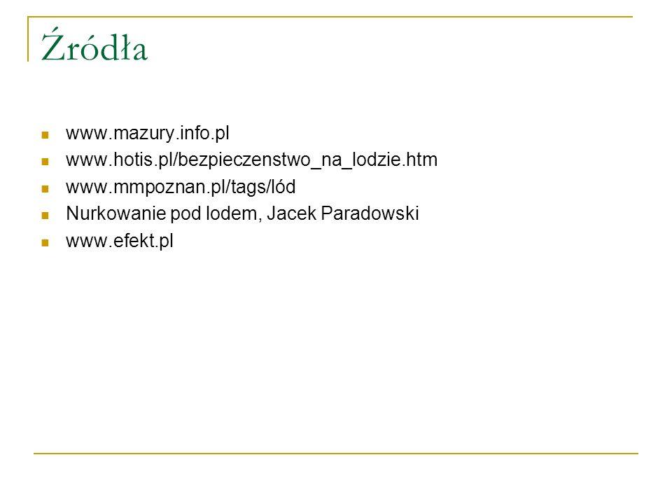 Źródła www.mazury.info.pl www.hotis.pl/bezpieczenstwo_na_lodzie.htm www.mmpoznan.pl/tags/lód Nurkowanie pod lodem, Jacek Paradowski www.efekt.pl