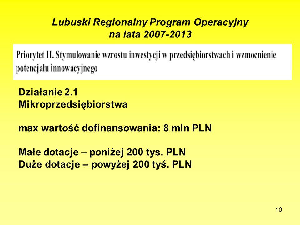 10 Lubuski Regionalny Program Operacyjny na lata 2007-2013 Działanie 2.1 Mikroprzedsiębiorstwa max wartość dofinansowania: 8 mln PLN Małe dotacje – po