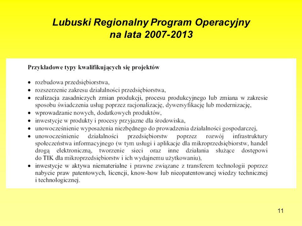 11 Lubuski Regionalny Program Operacyjny na lata 2007-2013