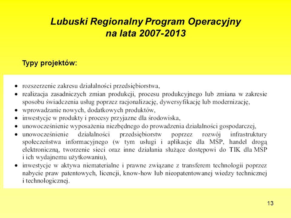 13 Lubuski Regionalny Program Operacyjny na lata 2007-2013 Typy projektów: