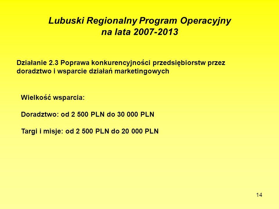 14 Lubuski Regionalny Program Operacyjny na lata 2007-2013 Działanie 2.3 Poprawa konkurencyjności przedsiębiorstw przez doradztwo i wsparcie działań m