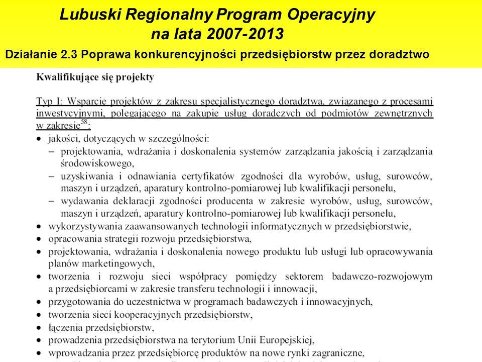15 Lubuski Regionalny Program Operacyjny na lata 2007-2013 Działanie 2.3 Poprawa konkurencyjności przedsiębiorstw przez doradztwo