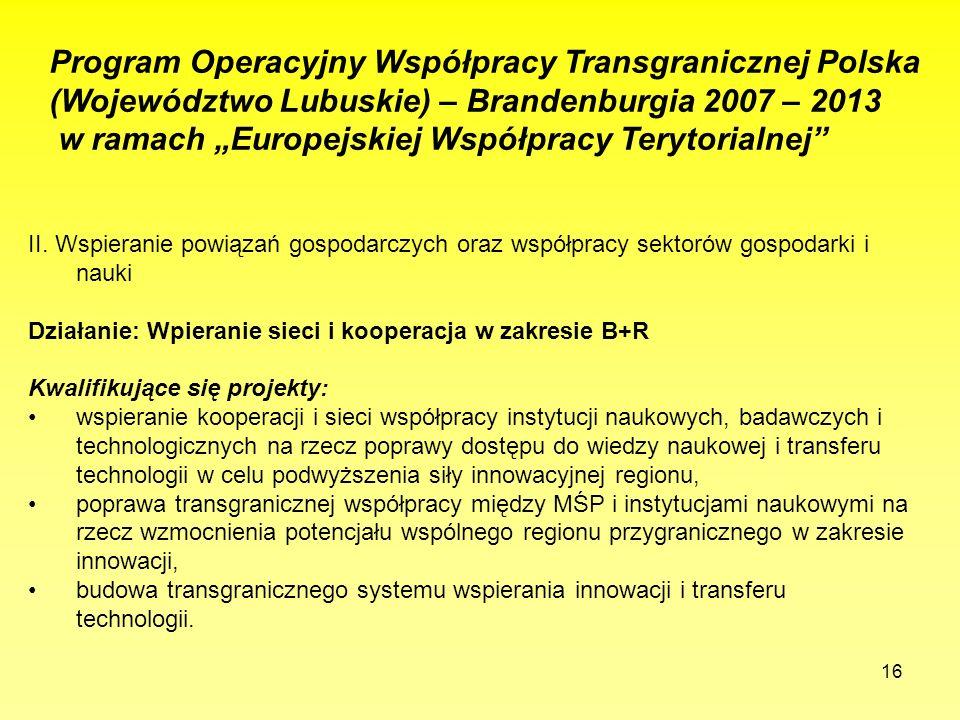 16 Program Operacyjny Współpracy Transgranicznej Polska (Województwo Lubuskie) – Brandenburgia 2007 – 2013 w ramach Europejskiej Współpracy Terytorialnej II.