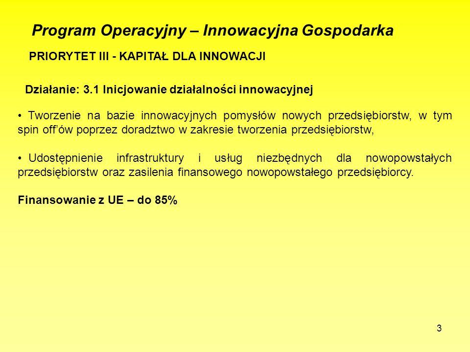 3 Program Operacyjny – Innowacyjna Gospodarka PRIORYTET III - KAPITAŁ DLA INNOWACJI Działanie: 3.1 Inicjowanie działalności innowacyjnej Tworzenie na