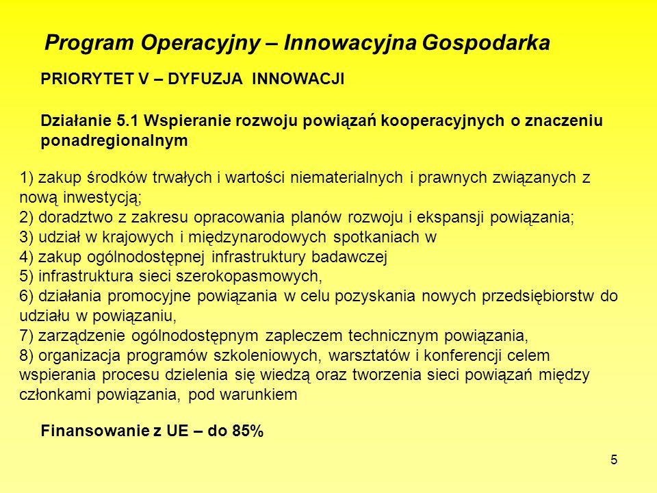 5 PRIORYTET V – DYFUZJA INNOWACJI Program Operacyjny – Innowacyjna Gospodarka Działanie 5.1 Wspieranie rozwoju powiązań kooperacyjnych o znaczeniu ponadregionalnym 1) zakup środków trwałych i wartości niematerialnych i prawnych związanych z nową inwestycją; 2) doradztwo z zakresu opracowania planów rozwoju i ekspansji powiązania; 3) udział w krajowych i międzynarodowych spotkaniach w 4) zakup ogólnodostępnej infrastruktury badawczej 5) infrastruktura sieci szerokopasmowych, 6) działania promocyjne powiązania w celu pozyskania nowych przedsiębiorstw do udziału w powiązaniu, 7) zarządzenie ogólnodostępnym zapleczem technicznym powiązania, 8) organizacja programów szkoleniowych, warsztatów i konferencji celem wspierania procesu dzielenia się wiedzą oraz tworzenia sieci powiązań między członkami powiązania, pod warunkiem Finansowanie z UE – do 85%