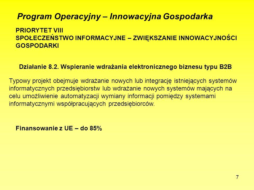 7 Program Operacyjny – Innowacyjna Gospodarka PRIORYTET VIII SPOŁECZEŃSTWO INFORMACYJNE – ZWIĘKSZANIE INNOWACYJNOŚCI GOSPODARKI Działanie 8.2. Wspiera