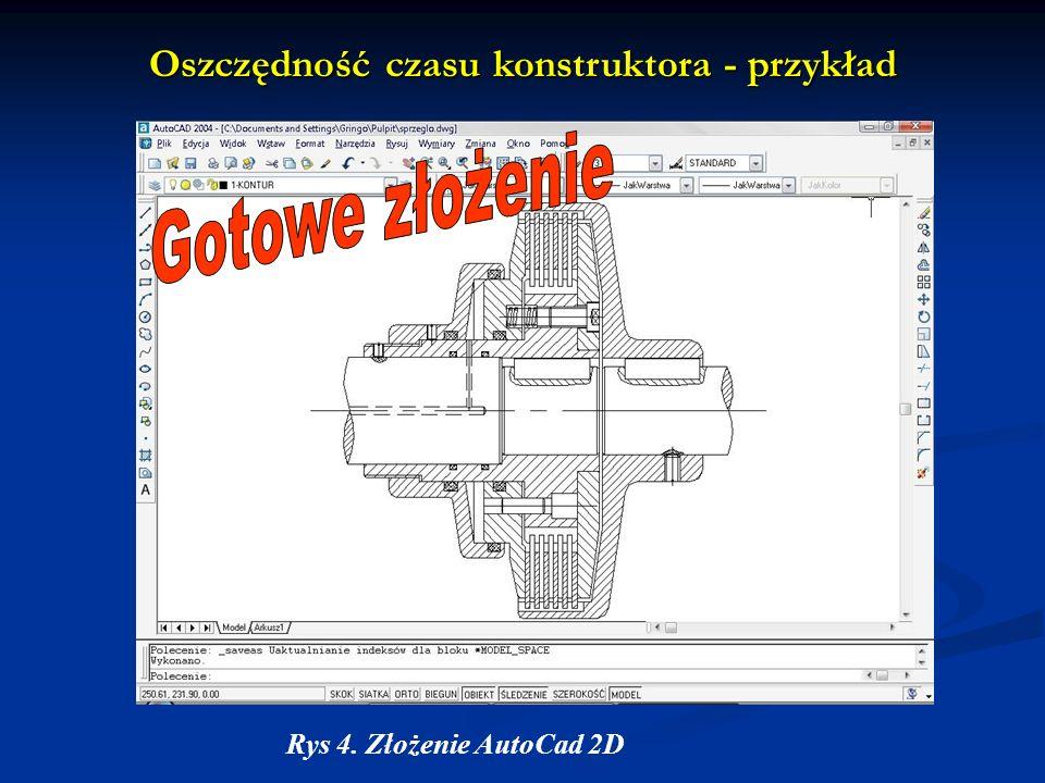 Oszczędność czasu konstruktora - przykład Rys 4. Złożenie AutoCad 2D