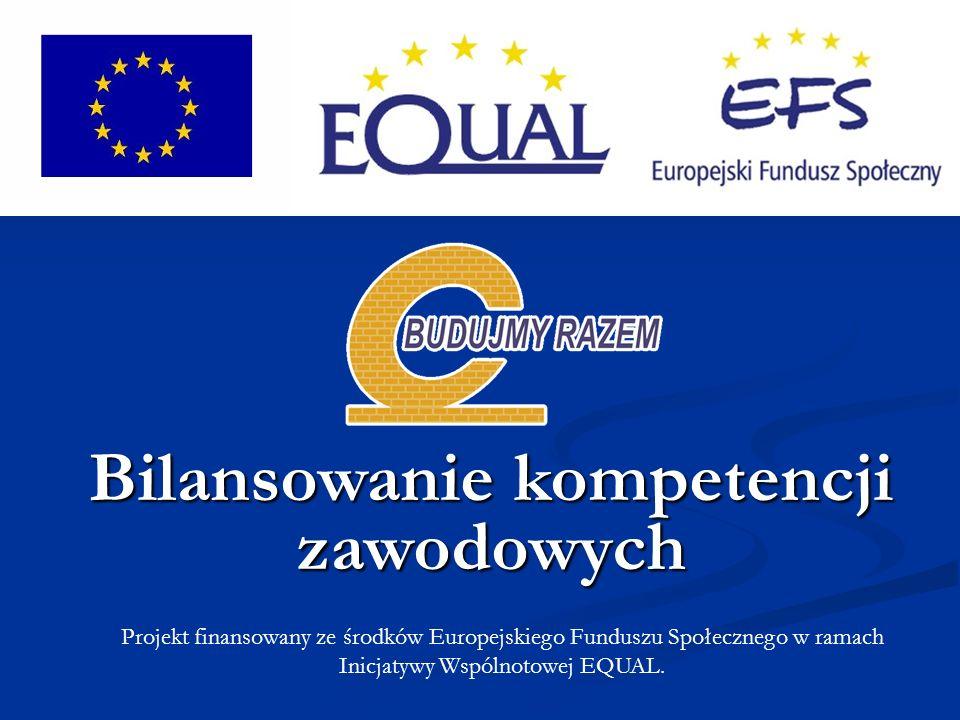Projekt finansowany ze środków Europejskiego Funduszu Społecznego w ramach Inicjatywy Wspólnotowej EQUAL.